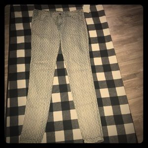 Free People blue/white pattern skinny jeans